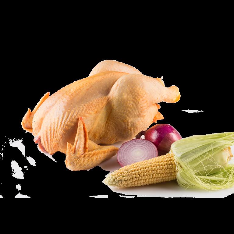 pollo de campo entero crudo con verduras